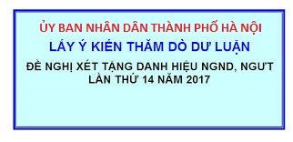 Thăm dò dư luận đề nghị xét tặng danh hiệu Nhà giáo Nhân dân, Nhà giáo Ưu tú thành phố Hà Nội lần thứ 14 năm 2017
